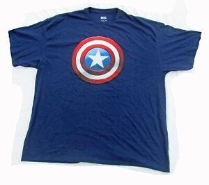 Size 2XL XXL Marvel Avenger Captain America Logo Blue Men's T-shirt Graphic Tee