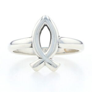 James Avery Ichthus Fish Statement Ring Sterling Silver - 925 Christian Faith