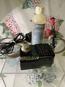 Dinair 505 Airbrush Makeup Tool Compressor w/ Tubing Pen Power Adapter Set
