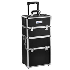 Black Rolling Makeup Case Aluminum Hair Stylist Trolley 2 Wheel Box Organizer