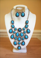 Western Turquoise Charms Engraved Silver Cowgirl Necklace Earring Set Bling