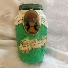 FUN MIXED MEDIA VINTAGE JAR WITH METAL SCREW ON LID ONE OF A KIND