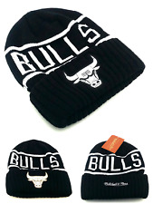 Chicago Bulls New Mitchell & Ness Black White Reflective Beanie Era Hat Cap