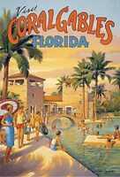 "Visit Coral Gables FL vintage travel fine art print Kerne Erickson 38.5 x 26.5"""