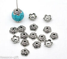 500 Silver Tone Flower Bead Caps 10x4mm Findings
