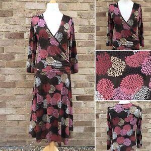 Phase Eight Dress UK 14 Brown Pink Multi Floral Print Mock Wrap Work Office