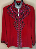Bob Mackie Wearable Art Womens L Red Full Zip Embroidered Jacket Vintage