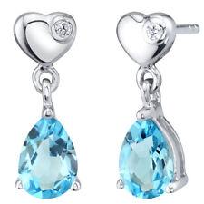 Swiss Blue Topaz Sterling Silver Heart Dangle Drop Earrings 1.50 Carats Total
