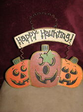 Happy Haunting Happy Fall Reversible Wooden Sign Wall Hanging