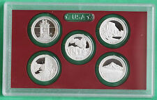 2010 US Mint SILVER America the Beautiful QUARTER Proof Set 5 Coins ONLY ATB