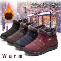 Women Winter Ankle Snow Boots Warm Fur Lining Slip Flat Cotton Shoes Plus Size