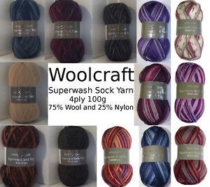 Woolcraft SUPERWASH SOCK YARN.100g ball.4 ply