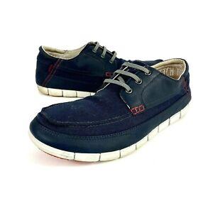 Crocs Stretch Sole Lace-Up Mens Canvas Leather Slip On Shoes Blue Size 13M 14774