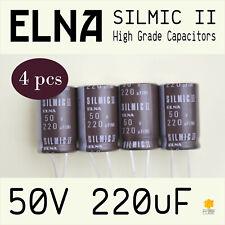 [4 pcs] ELNA RFS 50V 220uF (16x25) SILMIC II High Grade Capacitors for Audio