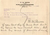 Vtg 1913 WM POWER Dry Goods Store, Deposit Alabama AL Letterhead Receipt Letter