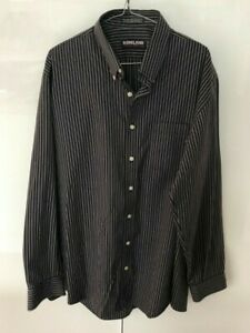 Kirkland Signature Mens Shirt, Black & Grey Pinstripe, Non Iron, Size XL
