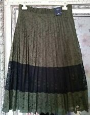BNWT M&S Ladies Khaki Black Lace Overlay Lined Midi Stretch Waist Skirt UK 14
