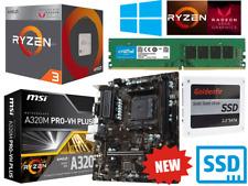 AMD Ryzen 4 Core 3.7GHz MSI A320M PRO Gaming Motherboard Bundle 16GB RAM SSD