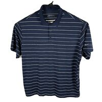 NIKE GOLF Mens DRY-FIT Polo Shirt Size 2XL Dark Blue White Striped Short Sleeve