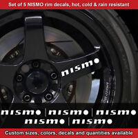 Nismo rim decal sticker adhesive all nissans 5 DECALS wheels 2.5sro WHITE mirror