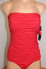 NWT Jones New York Swimsuit Bikini 1 one piece Red Removable Strap