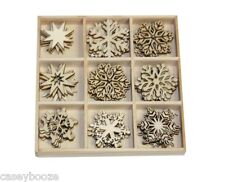 45 Wooden Shapes - Christmas Snowflakes - Ice Crystals - 0218 - New Out