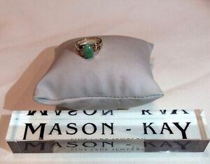 NEW 3.6 grams Designer Mason Kay 14k Yellow Gold Natural Green Jade Size 7