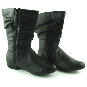 Black Leather Slouch Fashion Boots Size 8 Women Side Zip Low Heel Round Toe