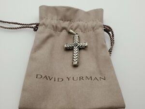 David Yurman Chevron Sculpted Cross Pendant with Pave Black Diamonds