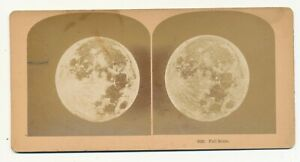 Full Moon Stereo View  ca. 1880s   Astronomy