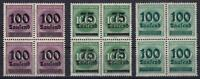 Infla Mi Nr. 289 b, 288, 290 ** 4er Blocks, Ziffer Deutsches Reich 1923, MNH