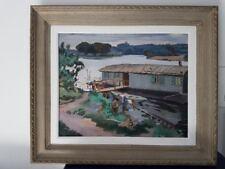 Y Blanchon peinture  bord d'eau péniches, jardin