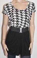 Miss Shop Designer Black White Belted Day Dress Size M BNWT #sV35