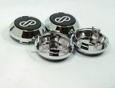 4pcs 64mm Black Chrome Wheel Center Caps Hubcaps Enkei Emblems Badges Rim Caps