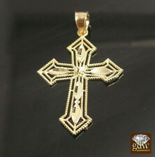 "10k Yellow Gold Designer's Cross With Diamond Cuts 1.2"",5mm Jesus Charm Pendent"