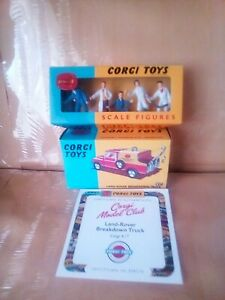 CORGI TOYS RE ISSUE LAND ROVER BREAKDOWN TRUCK NO.417 AND 1505 GARAGE FIGURES