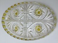 """Bohemian Crystal Yellow and Clear """"Pinwheel""""Cut Glass Square Dressing Table Tray"""