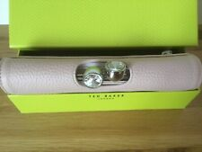 Ted Baker Crystal Twisted Bobble Clasp Pink Leather Matinee Purse In Gift Box