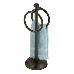 mDesign Metal Fingertip Towel Holder for Bath Vanity Countertop - Bronze