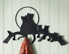 "BRAND NIB Cat Lover's CAT FAMILY Black Metal Key Holder - 4 Hooks - 14""W X 8""H"