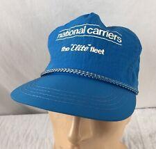 Vtg National Carriers Elite Fleet Hat Cap Snapback Nylon Blue
