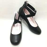Women's Nina Black Leather Cross Strap Ballerina Ballet Flats Size 5 M