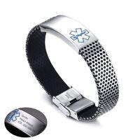 Medical Alert Id Bracelet Men Waterproof Silicone Custom Engraving 22cm