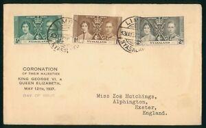 Mayfairstamps Nyasaland 1937 Limba Coronation Set Printed Cachet First Day Cover