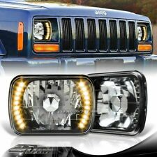 "7""x6"" H6052 H6054 Yellow 20-LED Black Housing Glass Lens Headlights Universal 5"