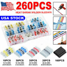 260PCS/Set Mix Solder Sleeve Heat Shrink Butt Waterproof Wire Splice Connectors