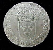 LOUIS XIII - ECU DE 60 SOLS 1643 A PARIS