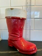 """Vtg Pre-War German Paper Mache Christmas Boot  LG Candy Container 8""""  Germany"""