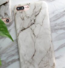 For iPhone 7+ Plus - HARD TPU RUBBER GEL CASE COVER WHITE BROWN MARBLE PATTERNS