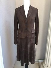 Rene Lezard 100% Goat Suede Suit Woman SZ 36 Eur Fits 4-6 US brown